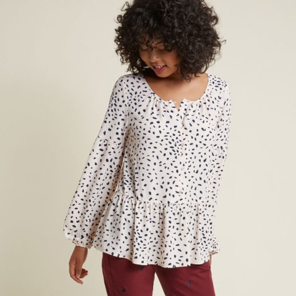 Modcloth Tops - Modcloth Flow with the Punches Spotted Blouse